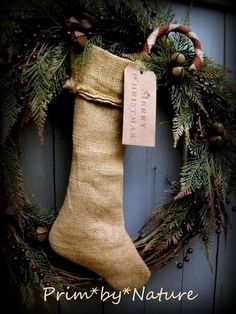 Primitive Christmas Wreath Burlap Stocking and Candy Cane