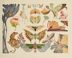 art deco, art nouveau flowers, butterflies, insects I am designing my own Art Deco/ art nouveau back tat. This will help with conceptualization.