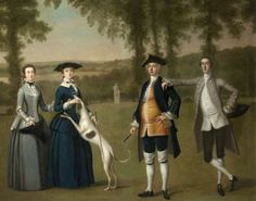 Arthur Devis - The Trevelyan Conversation Piece: Sir John Trevelyan (1735–1828), 4th Bt, with His Wife Louisa Simond, Lady Trevelyan, His Son Sir John Trevelyan (1761–1846), 5th Bt, and His Daughter Helena Trevelyan. c.1740. oil on canvas.