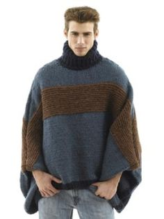 Over sized Poncho for Men! Isn't it great? and it's free too!!! Lion Brand Yarn