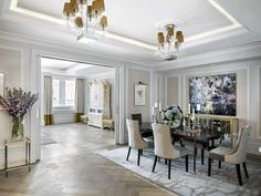The dining room of the Sterling suite at The Langham London, design by Richmond International, with ICE International rugs