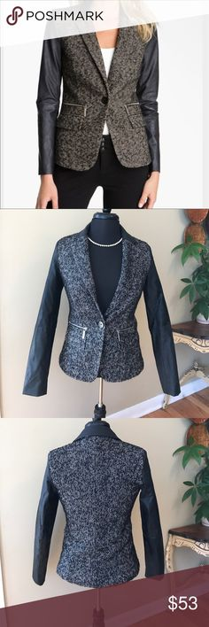 Michael Kors Tweed & Leather Jacket Size 2 This is a Michael Michael Kors Tweed And Leather Blazer/ Jacket. I purchased it to wear over jeans. You could wear this to work! Size 2 . Worn 2. Tweed has a natural fuzziness too it! Purchased this way! Leather, I believe is faux but amazing quality. Super soft. 🚫trades. Please ask all questions prior to buying MICHAEL Michael Kors Jackets & Coats