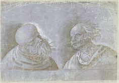 anoniem   Twee hoofden van mannen met hoofddeksels, attributed to Jacopo Ripanda, 1500 - 1525  