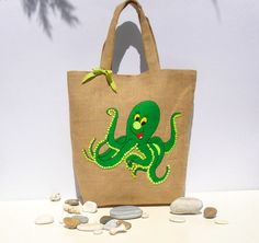 Tote bag with a green octopus Chic Jute by Apopsis on Etsy, $70.00