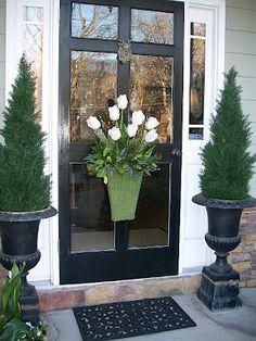 front door planter options, fall and spring, black front door, lion brass door knocker, door basket