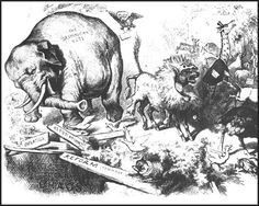 In the 1860s, Thomas Nast, of Harper's Weekly, developed the idea of the political cartoon. Nast originated the idea of using animals to represent political parties. In his cartoons the Democratic Party was a donkey and the Republican Party, an elephant.