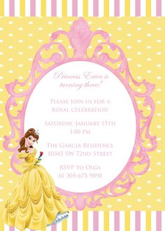 Beauty and the beast birthday invitation princess belle invitation belle birthday invitation princess birthday invitation girl birthday belle invitation birthday party filmwisefo Images