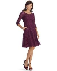 3/4 Sleeve Lace Fit and Flare Dress