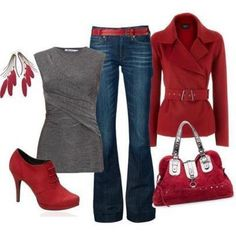 Winter outfit - could swap out some of the red pieces for black, or even a minty blue