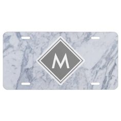 Marble Pattern Monogram License Plate - marble gifts style stylish nature unique personalize