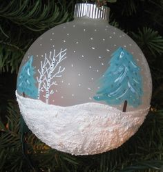 Hand Painted Christmas Ball Ornament  by just4christmas on Etsy, $15.00