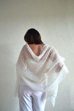 Linen Wedding Scarf / Shawl / Stole / Wrap  White by BVLifeStyle, $43.99