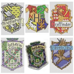 DIY Cross Stitch Charts for Hogwart Houses by Ronjaliek on Deviantart. Do you know someone who loves anything Harry Potter? Ronjaliek links the finished patches in each post. Top Row: Hufflepuff, Hogwart Houses, Gryffindor Bottom Row: Slytherin, FInished Slytherine Badge, Ravenclaw For everything DIY Harry Potter go here including an amazing DIY Harry Potter Monopoly Game and DIY Harry Potter Chess Set.