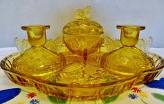 Art Deco Sowerby Butterfly Vanity Set Amber Glass Tray Trinket Box Candle Holder | Collectibles, Vanity, Perfume & Shaving, Vanity Accessories | eBay!