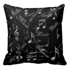 Black and Grey Music Notes Throw Pillow