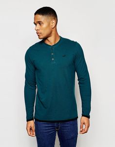 Image 1 of Hollister T-Shirt with Henley Neck Long Sleeves in Green