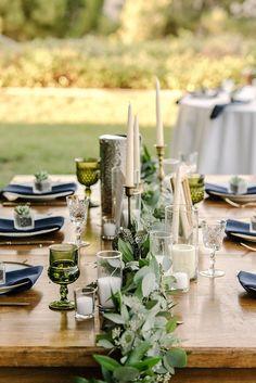 Garland and Gold, Camarillo Wedding | Planner: Meg West. Italian Villa Wedding. #eucalyptus #wedding #villa #centerpieces #navy #ivory