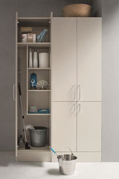 Tall units are available with different functions: they can house a washing machine or be used as broom cupboards. Laundry Cupboard, Hall Cupboard, Utility Cupboard, Laundry Nook, Larder Cupboard, Cupboard Design, Small Utility Room, Utility Room Designs, Kitchen Storage