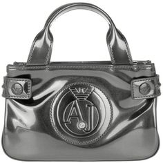 Armani Jeans Mini Crossbody PVC Gun Metal in silver, Shoulder Bags ($160) ❤ liked on Polyvore featuring bags, handbags, shoulder bags, silver, silver handbags, metallic purse, metallic handbags, mini purse and crossbody purses