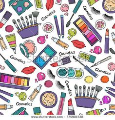 Vector seamless pattern with hand drawn colored cosmetics. Pattern on the theme of fashion and beauty. Background for use in design, packing, fabric, web site