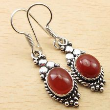 CARNELIAN Stone Jewelry ! 925 Silver Overlay ECONOMIC Earrings 1 5/8 Inches NEW