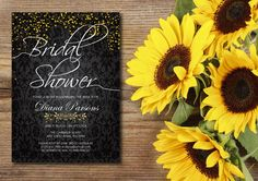 A personal favorite from my Etsy shop https://www.etsy.com/ca/listing/452394196/black-gold-confetti-bridal-invitation