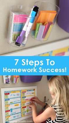 7 Steps to Homework Success! Help kids do better in school this year with simple tips for a great homework station. Help cure the homework headache!