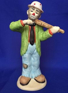 Emmett Kelly Jr Clown Playing Violin Porcelain Figurine Flambro Vintage 7 Inches #Flambro