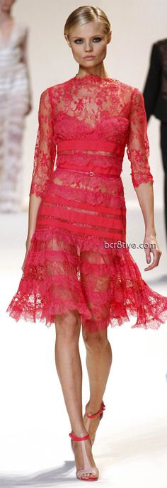 Elie Saab Spring Summer 2013 Ready to Wear - pink lace dress