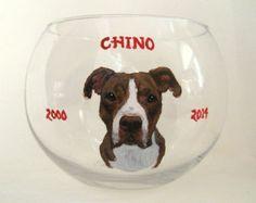 Pet Loss Memorial Jar, Pitbull Portrait, Dog Painting, Loss of Dog Rememberance, Personalized Pet, Custom Portrait