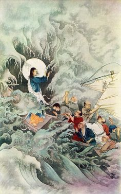 Jesus calming the storm. Painting by Lu Hongnian, a 20th century Chinese artist.