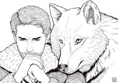 Robb and Grey Wind by K0niczyna