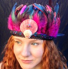 Pink Feather Crown with Scallops by SaltyFeathersDesigns on Etsy