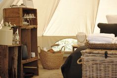 Inside one of our 5 metre bell tents at Cosy Tents, Hepburn Shire Tent Living, Gypsy Living, Outdoor Living, Cosy Tent, 5m Bell Tent, Lotus Belle Tent, Bell Tent Camping, Camping Cabins, Campsite