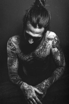 """A guy with a bun and tattoos - I read somewhere, """"I don't usually chase after men, but if he has tattoos, a bun and a beard, I may just power walk."""" and it made me laugh when I saw this picture. #TattooModels #tattoo"""
