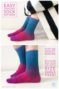 Learn how to crochet socks! The beginner friendly 'Step On' crochet sock pattern is perfect for crocheters new to sock making. Size S is free on this page Easy Crochet Socks, Crochet Sock Pattern Free, Crochet Shoes, Crochet Slippers, Crochet Yarn, Crochet Clothes, Free Crochet, Crochet Patterns, Crotchet Socks