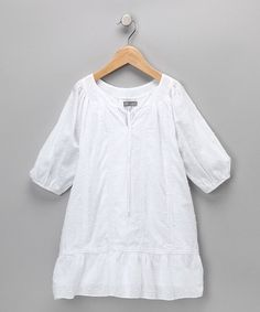 Another great find on #zulily! White Bohemian Swiss Dot Dress - Toddler & Girls #zulilyfinds