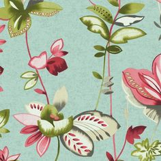 """Watercolors Whimsical Garden 27' x 27"""" Floral and Botanical Wallpaper"""