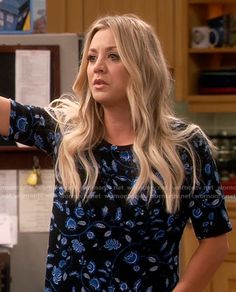Penny's blue floral top on The Big Bang Theory. Outfit Details: https://wornontv.net/62930/ #TheBigBangTheory