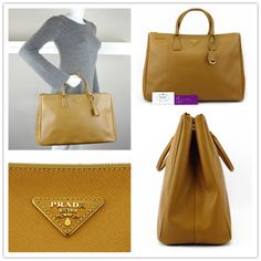 PRADA LUX (large) BN1802 brown colour saffiano leather with gold hardware good conditions ref.code-(BVECL-1)