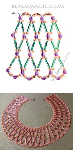 beaded jewelry Free pattern for necklace Apricot Jam Beading Patterns Free, Seed Bead Patterns, Free Pattern, Weaving Patterns, Mosaic Patterns, Knitting Patterns, Art Patterns, Beading Ideas, Beading Tutorials