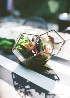 Modern Metallic Geo Terrariums for Weddings ~ ranunuculus, thistle and moss filled terrarium