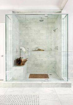 Fiberglass Shower Remodeling Alcove And Doorless Shower Remodel Marble Tile Bathroom, Small Bathroom, Master Bathroom, Neutral Bathroom, Master Shower, Bathroom Showers, Downstairs Bathroom, Bathroom Flooring, Bathroom Wall