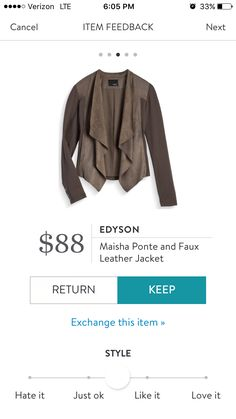 Love this! Would love to have some tops sent to put under! Edyson Maisha Ponte and Faux Leather Jacket- Olive. Stitch Fix.