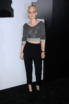 Kristen Stewart wears a Chanel top and Boy watch at Chanel N 5 event