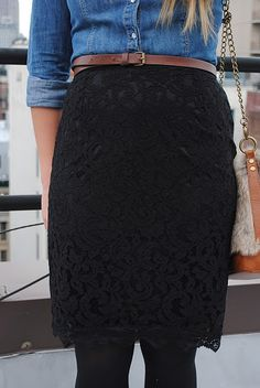 how to wear a textured black skirt? with a denim shirt of course! how else?