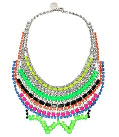 This Tom Binns stunner is my favorite of all his pieces, it's the Tekno Chic bib necklace and its a glorious rainbow of neon bling