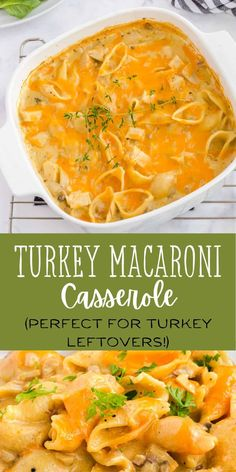 Wondering what to do with all that leftover turkey? This creamy baked pasta dish only takes a few minutes to stir together, and then it's baked in the oven to make a cheesy and creamy comfort food meal. It's an old fashioned recipe that has stood the test of time! #turkey #comfortfood #casseroles #leftoverturkey Easy Leftover Turkey Recipes, Leftover Turkey Casserole, Easy Dinner Recipes, Easy Recipes, Macaroni Casserole, Easy Casserole Recipes, Casserole Dishes, Thanksgiving Recipes, Holiday Recipes