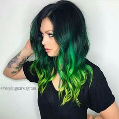Yellow dip, green ombre