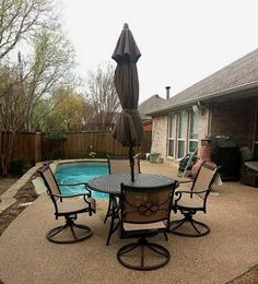 Agiou0027s Vista Table With Comfort Swivel Sling Chairs And A Auto Tilt  Umbrella From Treasure Garden Enjoy Your Outdoor Room   Yard Art Patio U0026  Fireplace